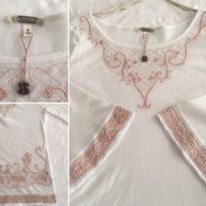 NWT Gimmicks Sheer White & Rose Metallic Tunic S